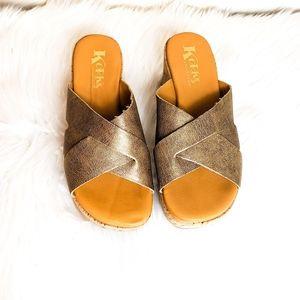 Korks by KORK-EASE Metallic Gold Wedge Sandal